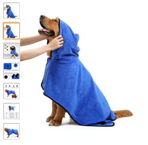 albornoz perro azul con capucha