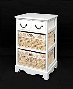 armario blanco con cestas de mimbre baño