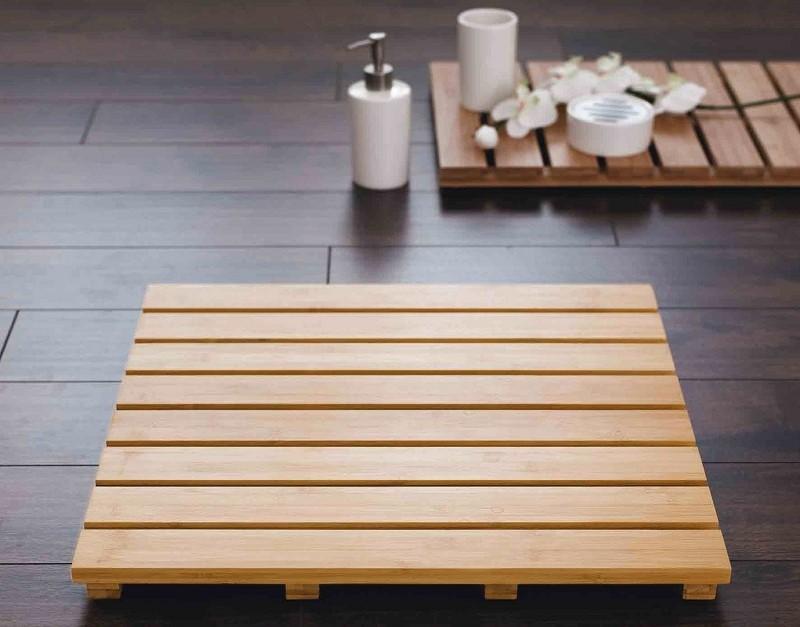 alfombra baño bambu
