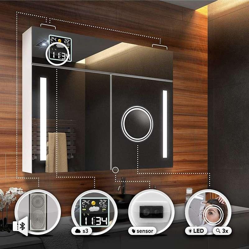 armario de baño moderno con espejo y luz led
