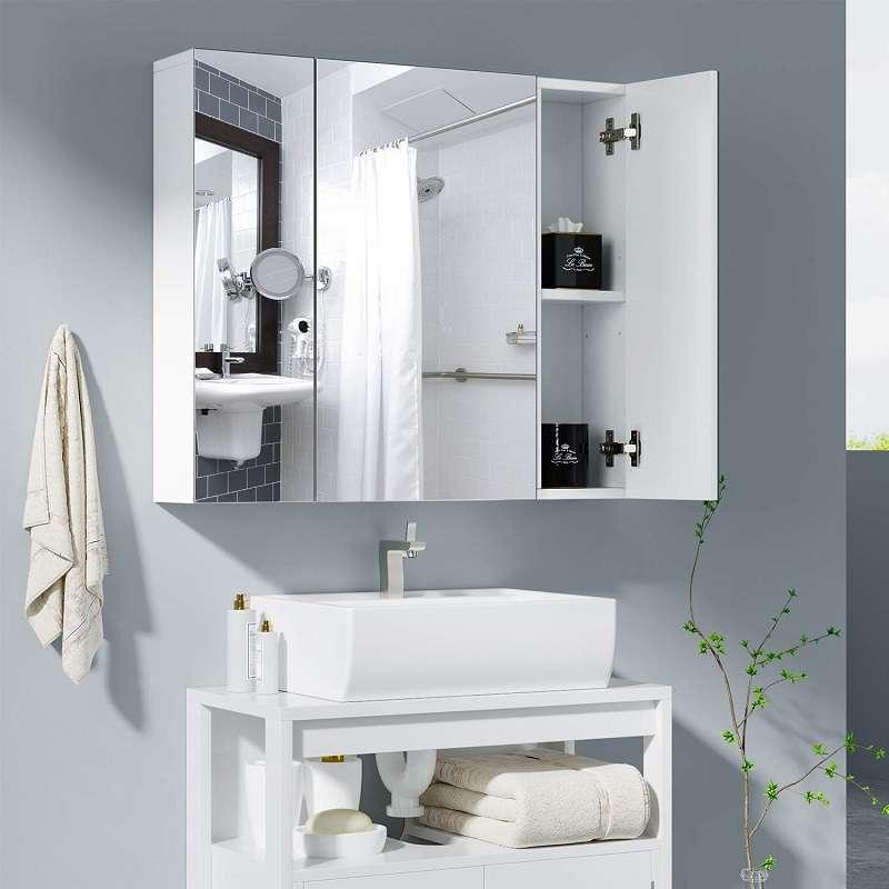 armario baño con espejo de pared 3 puertas