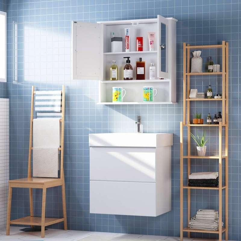 armario de pared con espejo y puertas para baño