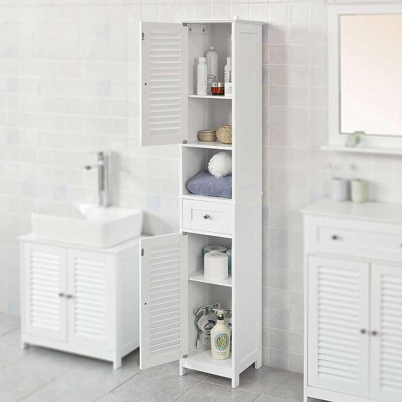 armario baño mueble alto estrecho con estanterias