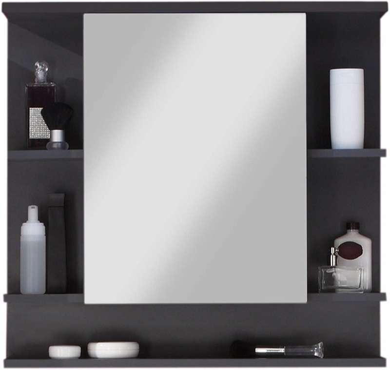 mueble de baño de madera con espejo y estantes