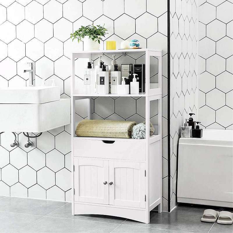 mueble pequeño para baño blanco con estanteria y puertas