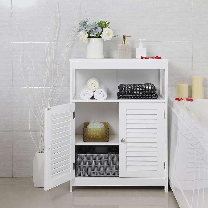 mueble baño auxiliar bajo con puertas y estantes
